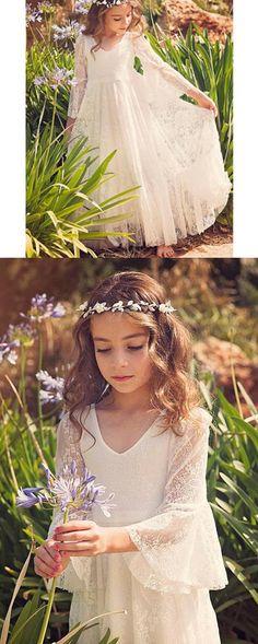Boho Long Sleeve A-line Lace Flower Girl Dresses, Lovely Little Girl Dresses, FG063