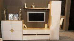 #Salon #moderno blanco madera. #mueblesarria