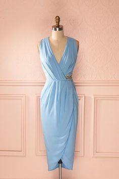 Jensina - Light blue draped wrap midi dress