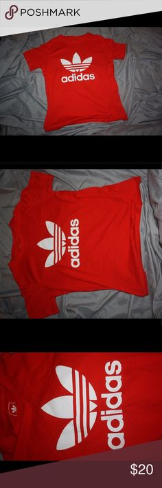Red/White Adidas Trefoil Short Sleeve T-shirt •Adidas•Juniors Medium-- will fit a Women's Size X-Small/Small due to loose fitting•No flaws whatsoever•70% Cotton•30% Polyester adidas Tops Tees - Short Sleeve