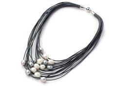 Multi Strand Leather and Pearl Necklace by TrinketsNWhatnots