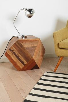 faceted block-style wood side table