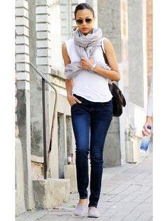 grey scarf.white t