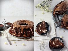 """Flourless Chocolate and Cream Cheese Mable Cake ~ via this blog, """"Eat, Love and be Happy!"""""""
