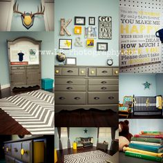 Grey, Yellow, and Blue Baby Boy Nursery Armoire Changing Table, DIY, Rustic, Vintage, Neutral
