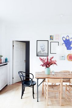Daring to live with color: Tikkie Elsoe's stylish Ikea hack kitchen features mint green cabinet fronts and an oak counter by Reform of Denmark. Küchen Design, Interior Design, Loft Design, Design Scandinavian, Scandinavian Apartment, Colorful Kitchen Decor, Industrial Dining, Vintage Industrial, Industrial Bedroom