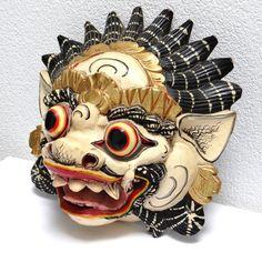 Barong Carved Balinese Wooden Mask - Vintage Polychrome Handpainted Mask Barong Dragon - Indonesian Mythology Home Guard - Large Wooden Mask at VintageArtAndCraft