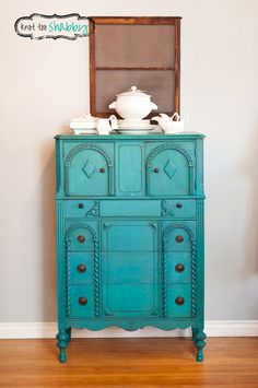 A beautiful antique dresser painted in custom mix of Florence and Napoleonic Blue Chalk Paint® decorative paint by Annie Sloan | By Knot Too Shabby