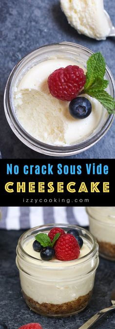 These Crack Proof Sous Vide Cheesecakes are creamy and smooth, with a graham cracker crust at the bottom and topped with fresh, colorful berries for a classic treat! Easy Cheesecake Recipes, Cheesecake Bites, Dessert Recipes, Homemade Cheesecake, Sous Vide Cheesecake, Sous Vide Dessert, Sous Vide Cooking, Savoury Cake, Graham Crackers