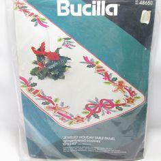 Vtg Bucilla Jeweled Holiday felt Christmas Table Panel Runner Gingerbread New #Bucilla