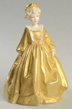 Grandmother's Dress-Yellow/Gold Royal Worcester Figurine at Replacements, Ltd