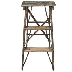 Wood and Metal Step Ladder on Chairish.com