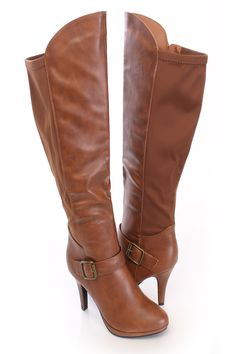 8e6b1561856 Tan Knee High Heel Boots Faux Leather