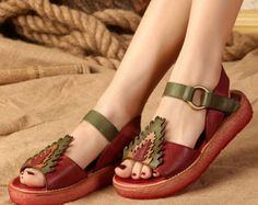 Handmade Womens Leather Hollow Sandals, Leather Shoes, Flat Shoes, Summer Shoes Sandals for Women  More Shoes: https://www.etsy.com/shop/HerHis?ref=shopsection_shophome_leftnav  ♥♥♥♥♥♥If you do not know which size you need to choose, please tell me the length of your feet or the size you most usually wear in your country, I would recommend you the size which is fit for your feet.;-)  PLEASE NOTE THAT the foot must be firmly on the floor when you measure the length and width of your foot…