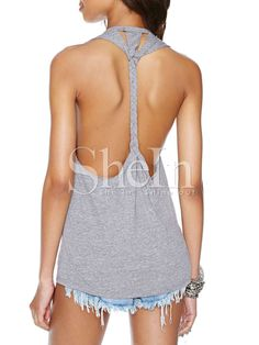 Grey Sleeveless Backless Tank Top 7.99