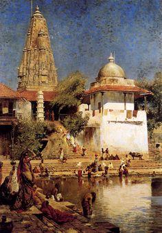 """Edwin Lord Weeks. """"Templo y estanque de Walkeshwar en Bombay"""" Edwin Lord Weeks. http://eldibujante.com/?p=9380 PAGNA CON PINTURA Y PINTORES DIVINOS"""