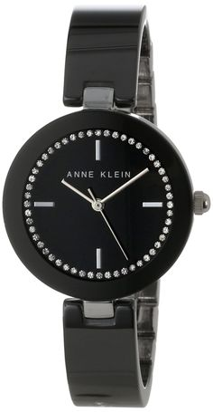 Anne Klein Women's AK/1315BKBK Ceramic Swarovski Crystal Accented Black Bangle Watch : Disclosure: Affiliate link