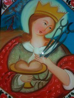 Pittura su Vetro S. Agata cm 40x30 (repro) Per info: pincisanti@hotmail.com