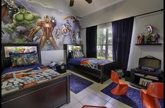 to Disney - Houses for Rent in Kissimmee, Florida, United States Avengers Themed Room with Xbox 360 Avengers Boys Rooms, Boys Superhero Bedroom, Marvel Bedroom, Boys Bedroom Decor, Room Ideas Bedroom, Boy Bedrooms, Ideas Habitaciones, Boys Room Design, Kissimmee Florida
