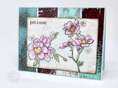 Quad panel card featuring Beautiful Noise stamps! Tile Panels, Music Images, White Paneling, Painted Paper, Coordinating Colors, Small Flowers, Cherry Blossom, Quad, Stamps