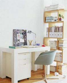 I like how the desk is just a table with a filing cabinet