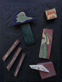 """""""Jean et Sophie"""" Assemblage, board, wood, paint, 28x35x3 cm"""