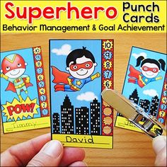 Superhero Theme Punch Cards for Behavior Management and Goal Achievement: Motivate your students to achieve goals and good behavior with these fun and unique superhero kids theme punch cards. Your students will love the characters and they will be excited to earn a punch on their card.