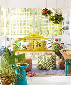40 Ideas for Warm and Welcoming Porches Swing into summer style with our bright and comfy porch. Play a game, sip a glass of lemonade, curl up with a book or just stretch out to relax—this porch accommodates it Painting Wicker Furniture, Weathered Furniture, Porch Furniture, Summer Porch Decor, Porch Wall, Front Porch, Screened Porches, Porch Makeover, House With Porch