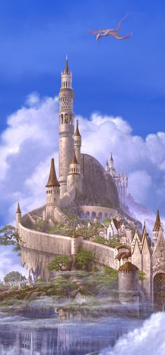 castle of the dragon slayer with his own dragon in the sky