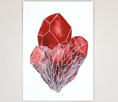 Gemstone Crystal Cluster Watercolor Art Painting - Geometric - Archival Print - 8x10 Crystal Cluster. $20.00, via Etsy.