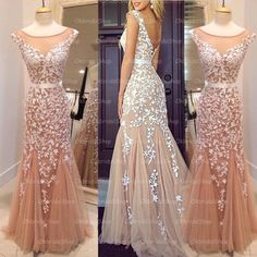 The mermaid lace prom dress are fully lined, 4 bones in the bodice, chest pad in the bust, lace up back or zipper back are all available, total 126 colors are available. This dress could be custom made, there are no extra cost to do custom size and color.  Description of mermaid lace prom dres...