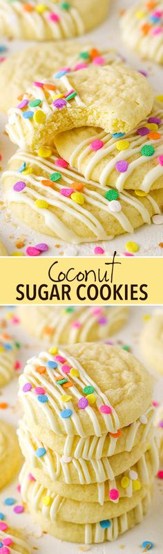 Coconut Sugar Cookies - soft in the center with lightly crunchy edges!
