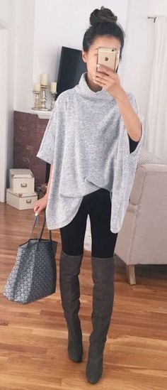 summer outfits Grey Top + Black Skinny Jeans + Brown OTK Boots