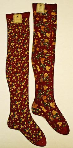 French  Stockings  ca. 1873  Culture: French  cotton  Dimensions:Length: 30 in. (76.2 cm)