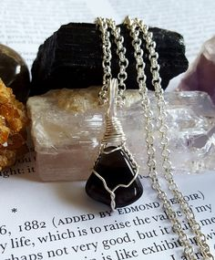Wire Wrapped APACHE TEAR Grounding Stone by TheStoneFairyShop