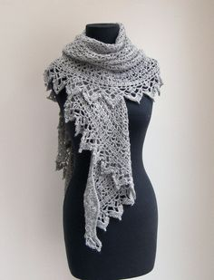 Crochet Lace Shawl Scarf Wrap Cowl Stylish Comfort Baby Alpaca by PeacefulPath