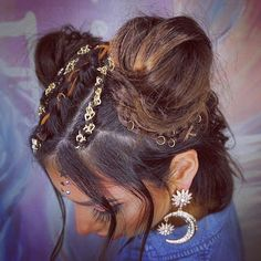 """85 Likes, 5 Comments - Ella Martinez (@ellasbridalhair) on Instagram: """"@ebony_maize_makeup wearing two small buns, three braids in between and plays wrapped around the…"""""""