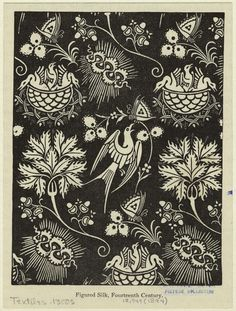 Figured silk pattern, from the 14th century collected in a Victorian book, 1894.