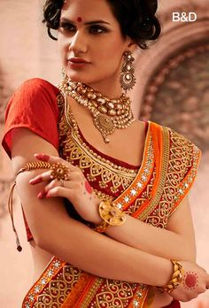 Delightful Red and Orange Bridal Lehenga Saree