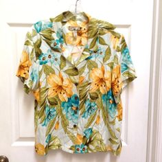Caribbean Joe XL Aqua Gold Green Button Front Silk Rayon Shirt Hawaiian Floral #CaribbeanJoe  #Summer