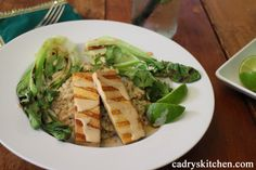 Grilled Tofu Satay & Bok Choy with Creamy Peanut Sauce - Cadry's Kitchen
