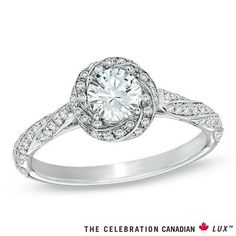 Celebration Canadian Lux™ 0.83 CT. T.W. Diamond Cascading Frame Engagement Ring in 18K White Gold (I/SI2) - Peoples Jewellers Celebration Canadian Lux™ 0.83 CT. T.W. Diamond Cascading Frame Engagement Ring in 18K White Gold (I/SI2) - - Clearance - Peoples Jewellers