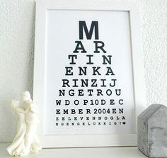 Op zoek naar een origineel huwelijkskado? Deze gepersonaliseerde ogentest is een schot in de roos voor ieder bruidspaar.
