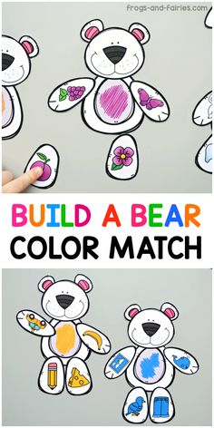 Color matching will be fun with this adorable Build a Bear Color Match printable activity for preschoolers! Your kids will build the bears by matching colors of the objects to the correct bears. This number match activity features bear pieces with a lo Bear Activities Preschool, Preschool Colors, Teaching Colors, Printable Activities For Kids, Preschool Printables, Preschool Classroom, Classroom Activities, In Kindergarten, Preschool Activities