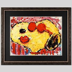 TOM EVERHART signed SNOOPY original litho COOL DOG LIPS Charles Schulz Peanuts