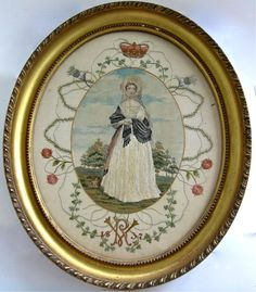 Fine Antique Queen Victoria 1837 Hand Embroidered Silk Work Picture ~Super Order, 14 & 3/4 inches by 12 & 1/4 inches approx.  | eBay, sold for £379,00 Ca. EUR 466,14