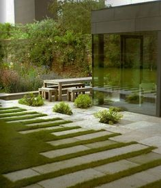 Imagine the art you can create in your own yard with grass patterns and concrete or even pavers.