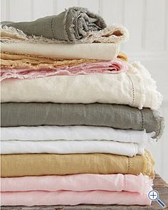 *Eileen Fisher Washed Linen Bedding, via Garnet Hill. Strawberry creme for me. Fewer chemicals needed in growing linen/flax; easy to care for - gets better with age; feels both soft and airy. Finished with picot detailing and raw-edge double fringe.