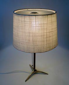 50s J T Kalmar Tripod Tisch Leuchte Mid Century Brass Table Lamp Lampe Annees 50