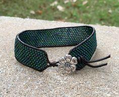 Green Multi Seed Bead Peyote Stitch Leather Cuff by NeedsToBead